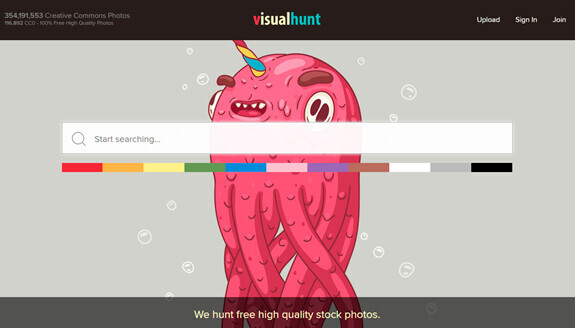 Printscreen VisualHunt